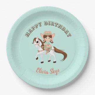 Little Cowgirl on Horse Girls Western Birthday Paper Plate