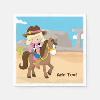Little Cowgirl on Horse Paper Napkins