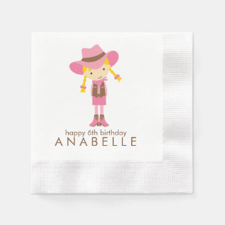 Little Cowgirl Western Birthday Party Disposable Napkin