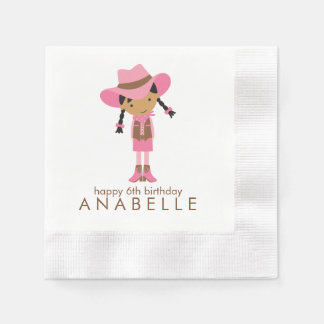 Little Cowgirl Western Birthday Party Paper Napkin