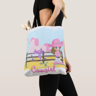 Little Cowgirl With Horse And Saddle Tote Bag