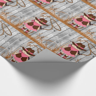 Little Cowgirl with Lasso and Barn Wood Wrapping Paper