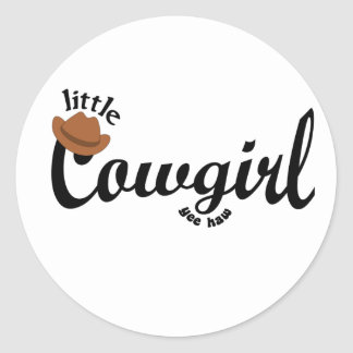 little cowgirl yeehaw classic round sticker