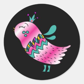 Little Crowned Pink Birdie Classic Round Sticker