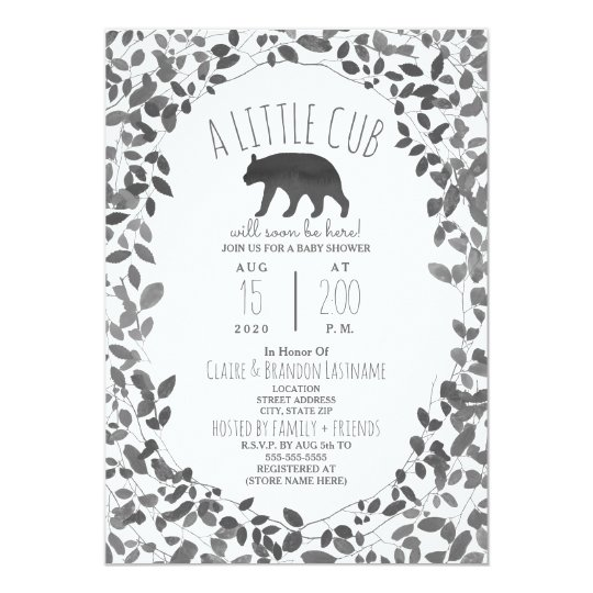 Little Cub Black + White Foliage Baby Shower Card