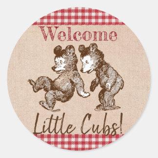 Little Cubs Twin Gender Neutral Baby Shower Classic Round Sticker