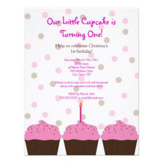 Little Cupcake 1st Birthday Invitation 4.25 x 5.5