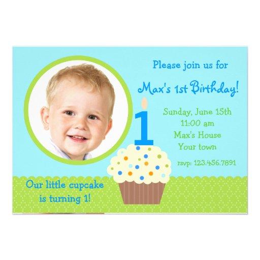 Little cupcake Boy Photo Birthday  Invitations
