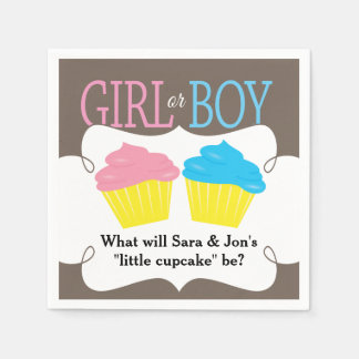 Little Cupcake Pink or Blue Gender Reveal Party Paper Napkin