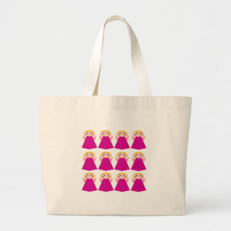 Little cute angels pink large tote bag