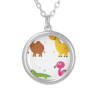 Little cute Animals on white / t-shirts Silver Plated Necklace