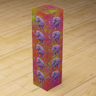 Little Cute Baby Elephant with Lifted Trunk Wine Gift Box