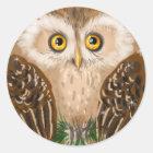 Little cute brown owl classic round sticker