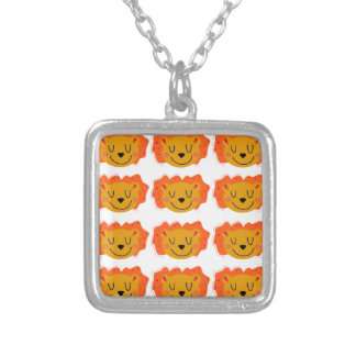Little cute Lions on white Silver Plated Necklace