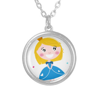 Little cute princess Blue Silver Plated Necklace