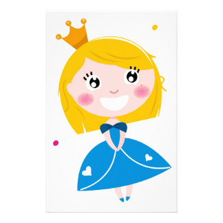 Little cute princess Blue Stationery