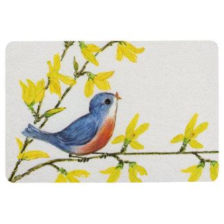 Little Cute Red Blue Tweeting Bird Branch Flowers Floor Mat