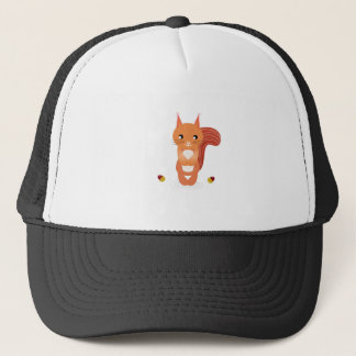 Little cute squirel on white trucker hat