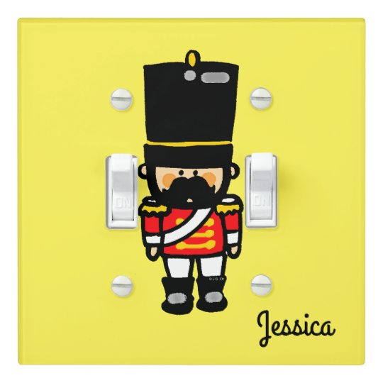 little cute toy soldier with moustache (add name) light switch cover