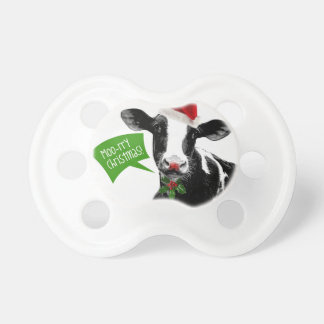 Little Dairy Farmer MOOrry Christmas Cow Pacifier
