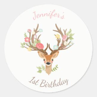 Little Deer favor tag Sticker woodland Antlers