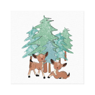 Little Deers In A Winter Landscape Canvas Print