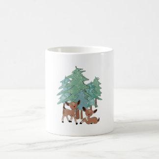 Little Deers In A Winter Landscape Coffee Mug
