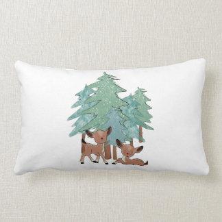 Little Deers In A Winter Landscape Lumbar Pillow