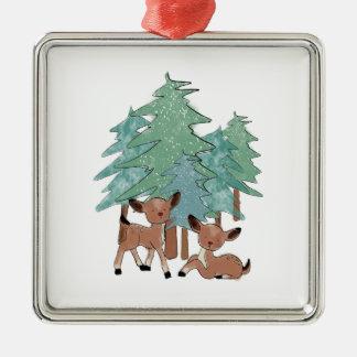 Little Deers In A Winter Landscape Metal Ornament