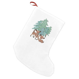 Little Deers In A Winter Landscape Small Christmas Stocking