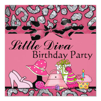 """Little Diva Birthday Party Sparkle In Pink & Black 5.25"""" Square Invitation Card"""