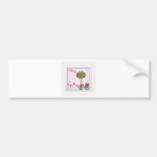 Little Dog, Basket, Bicycle, Flower Tree and Heart Bumper Sticker