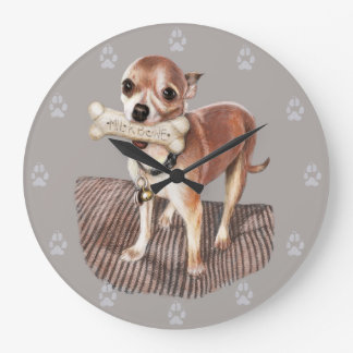 Little Dog, Big Bone Large Clock