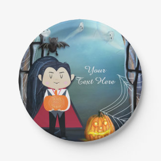 Little Dracula Vampire Halloween Birthday Party 7 Inch Paper Plate