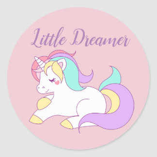 Little Dreamer Cute Unicorn Pink Stickers