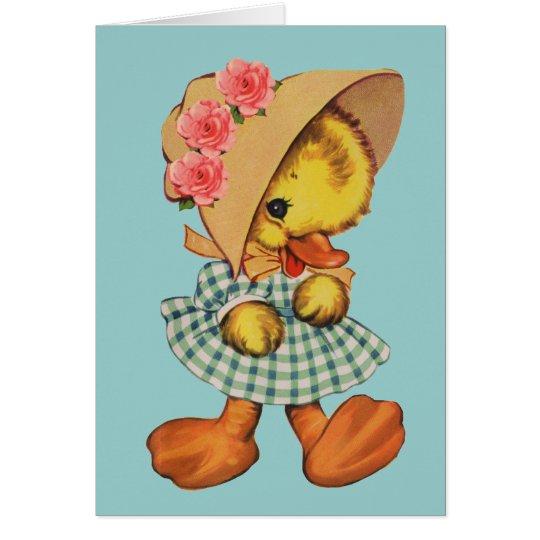 Little Duck in Dress and Bonnet Card