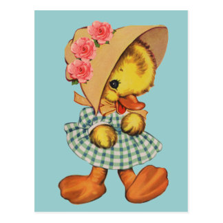Little Duck in Dress and Bonnet Postcard