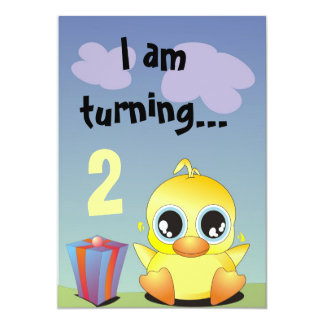 "Little Ducky is having a Birthday Party! 5"" X 7"" Invitation Card"
