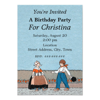 Little Dutch Girl Boy Traditional Dress Birthday Card