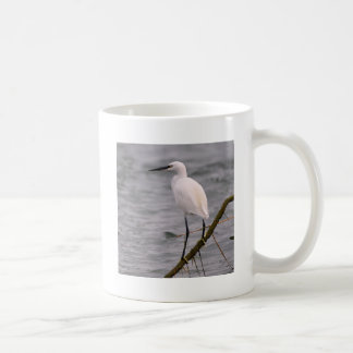 Little egret perched coffee mug