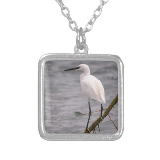 Little egret perched silver plated necklace