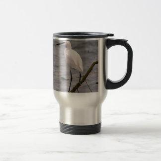 Little egret perched travel mug