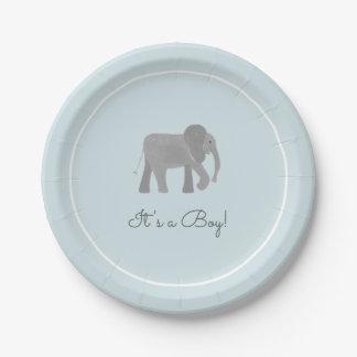 Little Elephant Baby Shower Paper Plate