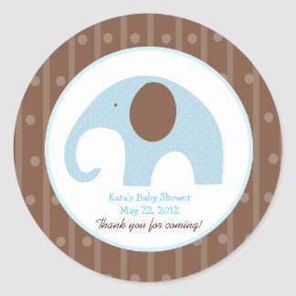 Little Elephant (Blue) Custom Favor Sticker