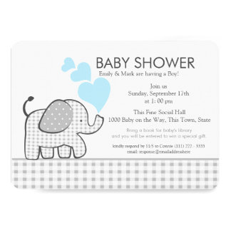 """Little Elephant Gingham and Blue Baby Shower 5"""" X 7"""" Invitation Card"""