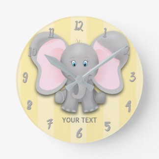 Little Elephant Yellow & Gray Personalized Nursery Round Clock