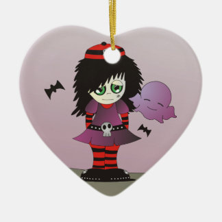 Little Emo Girl - Elzie and Friends Ceramic Heart Ornament