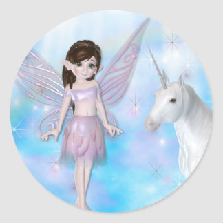 Little Fairy w/Unicorn Designs Classic Round Sticker