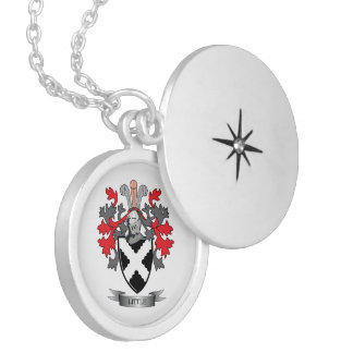 Little Family Crest Coat of Arms Silver Plated Necklace