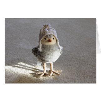 Little Felt Birdie with Hat Greeting Card